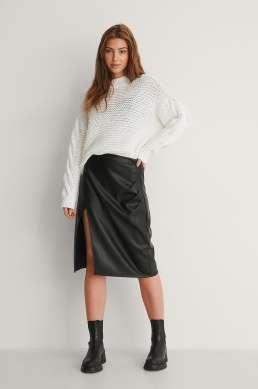 pu front slit skirt long