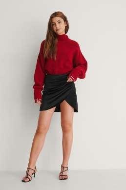 Velvet mini skirt . Svart