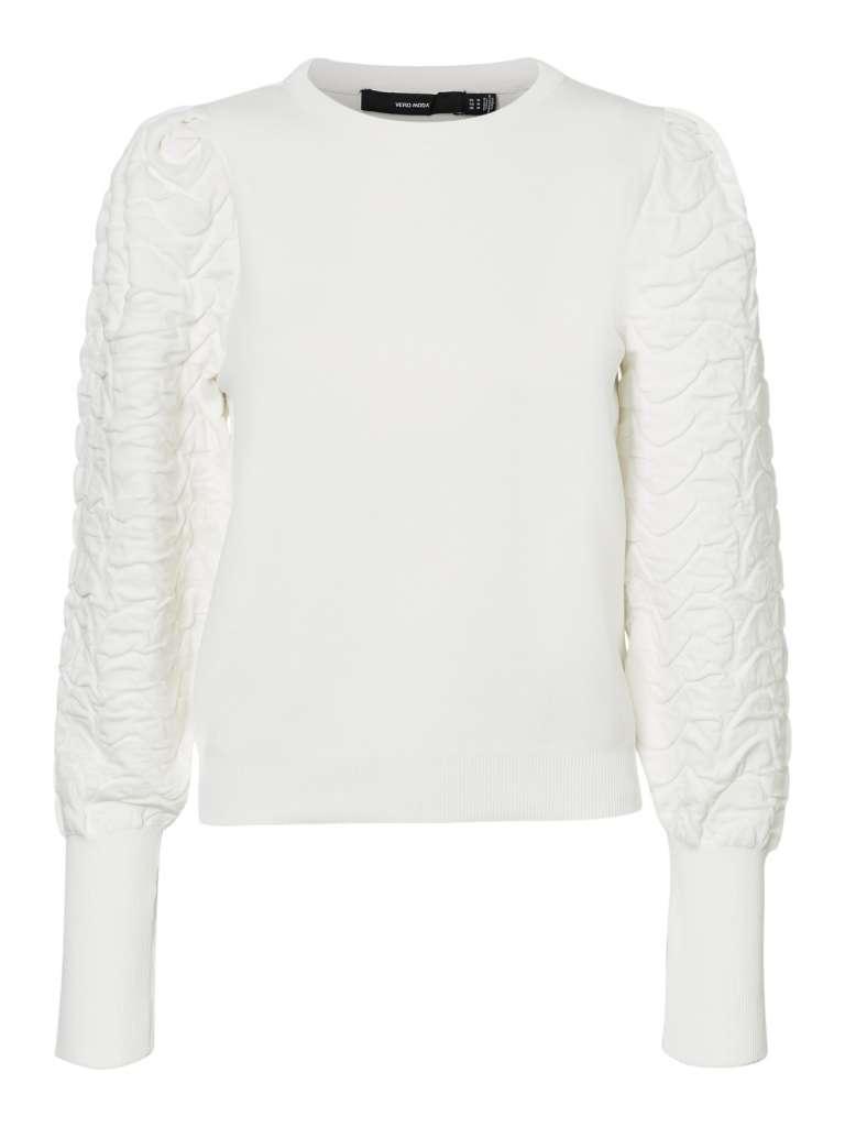 bimma puff neck blouse. hvit