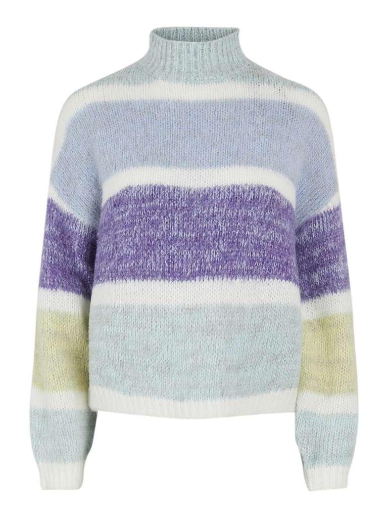 Emelyn high neck wool knit. Aqua