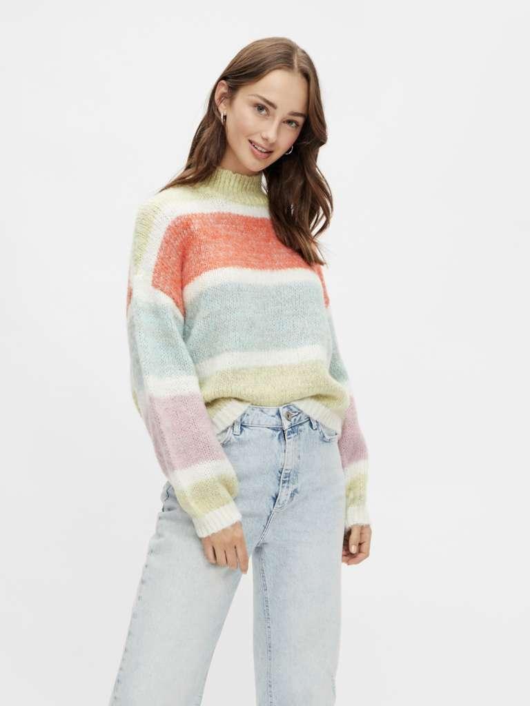 Emelyn high neck wool knit. Yellow