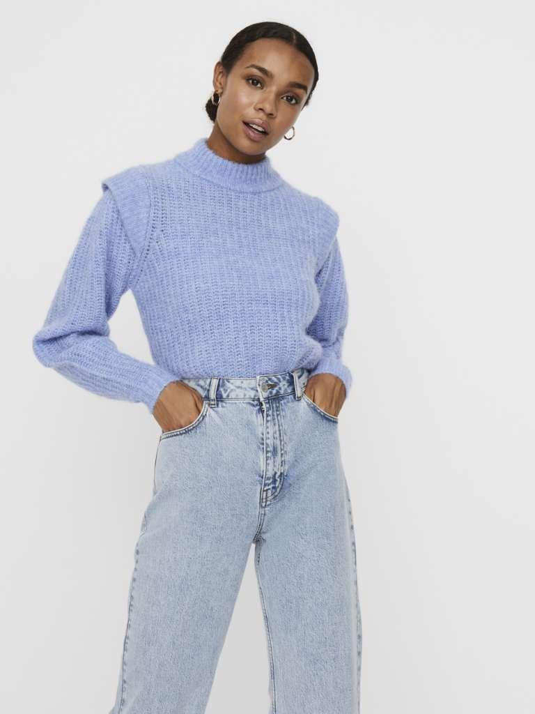 Pekan shoulder blouse. Blå